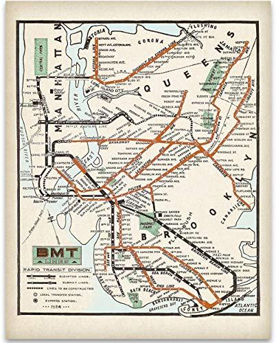 Vintage New York City Subway Map.Compare Price New York City Subway Art On Statementsltd Com