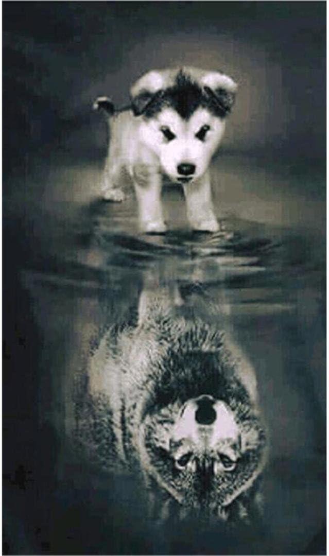 5D Diamond Painting - Hund und Wolf 30x40cm