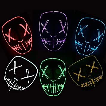 Fansport Máscara De Halloween Máscara Ligera De Fiesta Creative LED Light Up Mask Máscara De Cosplay