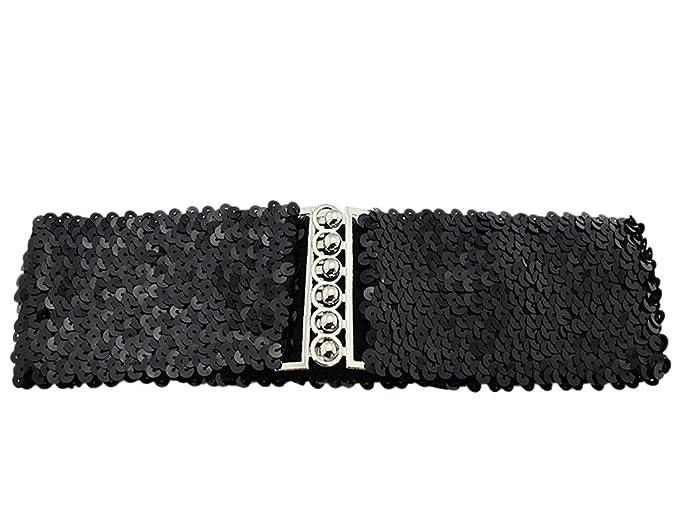 BONAMART Women Girls Glitter Sequins Elastic Fabric Wide Belt Waistband  Cinch d26fdf725