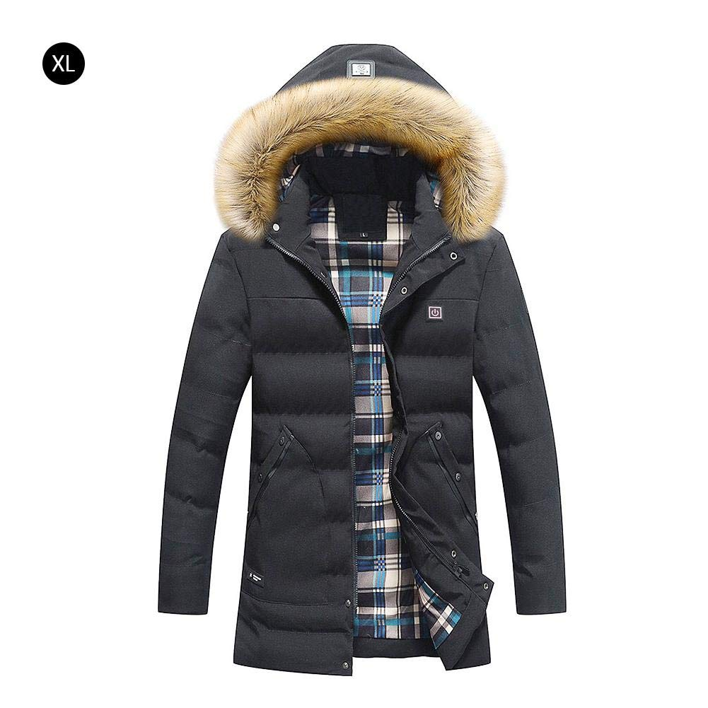 blue--net Electric Heated Jacket, USB Temperature Adjustable Heated Body Warm Coat, Warming Jacket Heat Insulate Waistcoat Thermal Clothing with Hood by blue--net