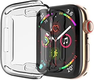 Toosunny Case for Apple Watch 6/5/4 Case 44mm, 2020 New iWatch Built-in Screen Protector Overall Protective Case TPU HD Clear Ultra-Thin Cover for Apple Watch Series 6 / SE / Series 5 / Series 4 (2 Pack) (40 mm)