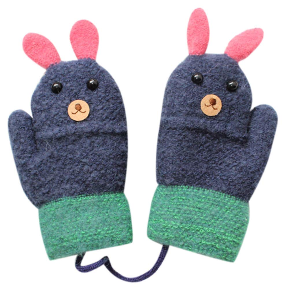 Lavany Cute Little Boys Girls Gloves On String Cute Rabbit Warm Full Finger Mittens (Navy)