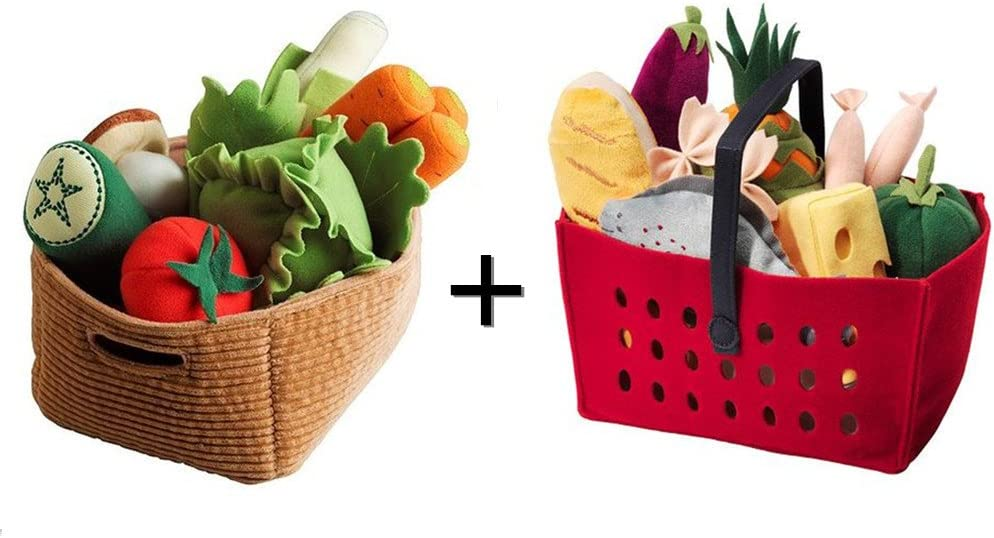 Ikea Duktig 14-piece Children's Vegetables Set And Shopping Basket