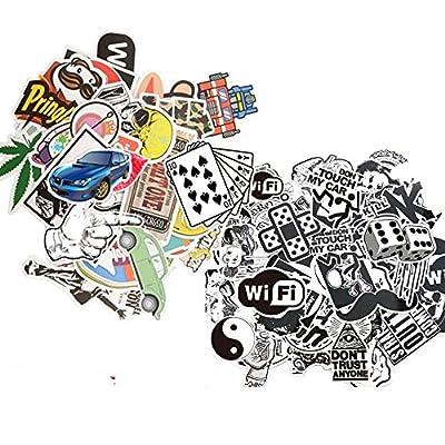 Dotiow Luggage Skateboard Sticker No Duplicated White Black Decal Vinyl Graffiti Flim Music Sticker Travel Car Bumper JDM Bomb Sticker