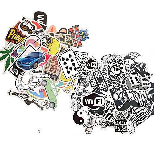 Dotiow Skateboard Luggage Stickers No Duplicated White Black