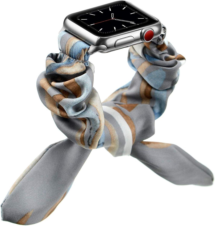 OXWALLEN Straps Compatible with Scrunchie Apple Watch Bands Scrunchie 38mm 40mm 42mm 44mm, Cute Adjustable Scrunchy Bracelet fit Girls Women for iWatch SE Series 3/4/5/6/