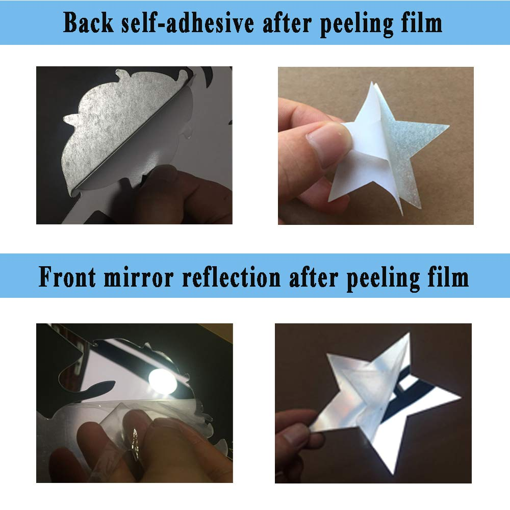 Wall Mirror Sticker 30cm Unicorn and 100 Piece 4cm Stars Silver Reflection for Kids Room Decoration