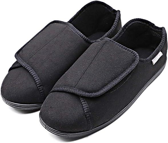 Extra Wide Mens Adjustable Diabetic Slippers Edema Sandals Footwear Swollen Feet