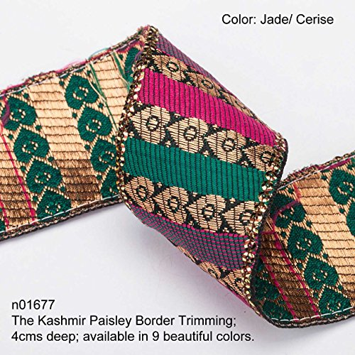 Neotrims Paisley Ribbon; Antique Old Copper-Gold Metallic Paisleys with Bright Rayon Contrast Blocks of Colour in Twill design. Traditional 9 meters Reel for Sari Border. Also for Salwar Kameez, For Crafts and Home Interior Décor. 4cms Deep Border, Upright Decorative Paisley design in Vintage Ribbon Style. The Kashmir Paisley Design trim. Buy by the 3 meter or 1 reel of 9 meters Sari length. Bargain Price for 1 Reel!