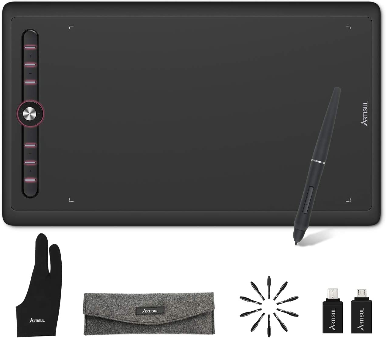 Artisul M0610Pro Graphics Drawing Tablet 10x6inch Large Space Digital Tablet Drawing Pen Tablet with 8192 Levels Battery-Free Stylus ,8 Express Keys,Ultralight Tablet 540g Portable Drawing Tablet