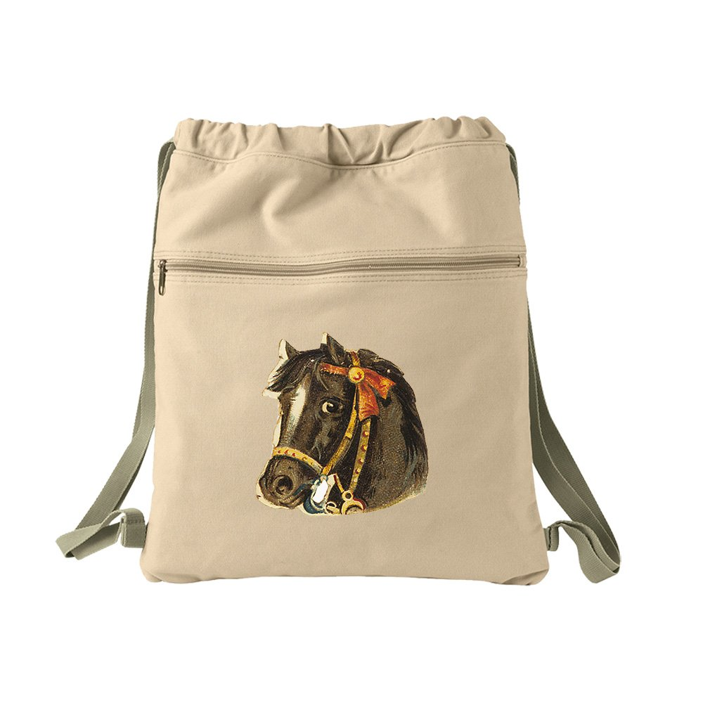 Black Horse With Gold Bridle Animals Canvas Dyed Sack Backpack Bag