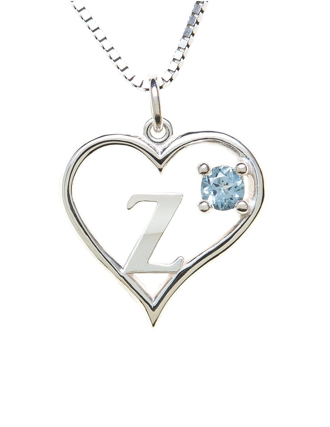 Sterling Silver Pendant Heart /& Letter Z