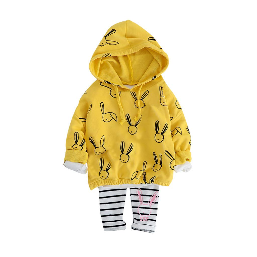 Homstar Toddler Baby Kids Girls 2Pcs Outfits Newborn Baby Cotton Hooded Long Sleeve Cartoon Rabbit Print Pullover Sweater Jumper Tops Striped Pants Set Tracksuit Jogging Suit for 1-4 Years Old
