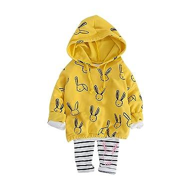 1-4 Años,SO-buts Bebé Niña Niñas Conjunto De Chándal De Sudadera Con Capucha Y Sudadera Con Capucha De Conejo De Otoño Traje