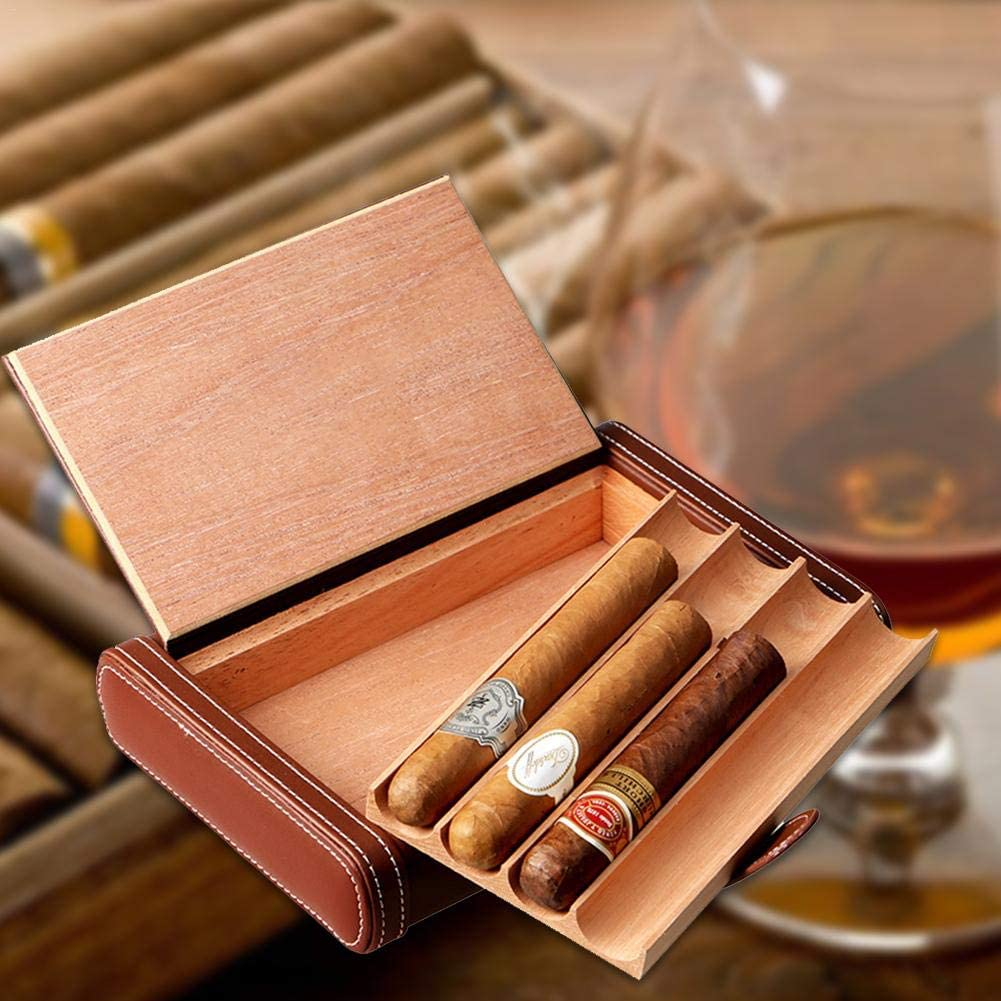 aus PU-Leder und Zedernholz braun Chen0-super Leder Zigarren-Etui f/ür 4 Zigarren