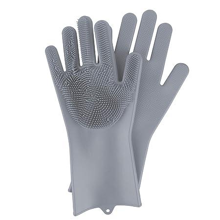 BEAUTLOHAS. Silikon Handschuhe mit wash Scrubber BPA-Frei umweltfreundlich Waschhandschuh Hitzebeständige Spülhandschuhe Rein