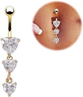RUBOBUC Bijoux Piercing, Beaux Cubic Zirconia Belly Button Bar Barbell Nombril Anneau Body Piercing Jewelry