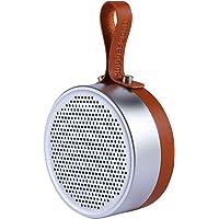 Outdoor Waterproof Bluetooth Speaker Wireless Mini Round Portable Travel Speakerphone Enhanced Bass 5W Driver Leather Metal Shower Speaker, Built-in Mic Sports, Pool, Beach, Hiking, Camping