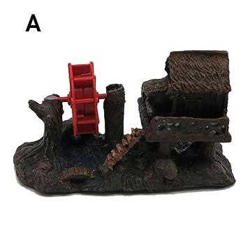 Pawaca Adornos para acuario, diseño de pecera, resina de casa, paisaje, manualidades, viento antiguo: Amazon.es: Productos para mascotas