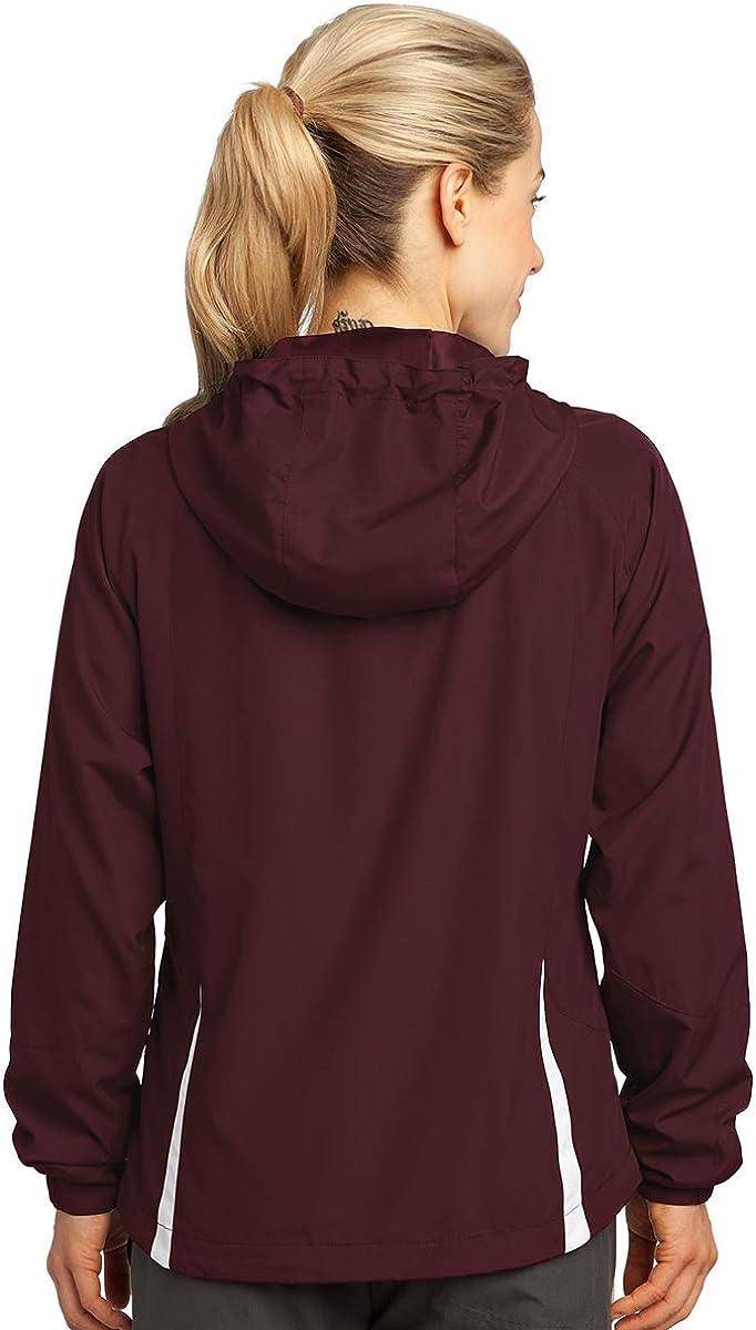 Sport-Tek Ladies Colorblock Hooded Jacket,X-Large,Pink