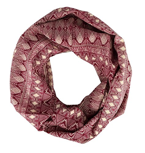 Peach Couture Tribal and Aztec Prints Light Weight Infinity Loop Scarves Maroon