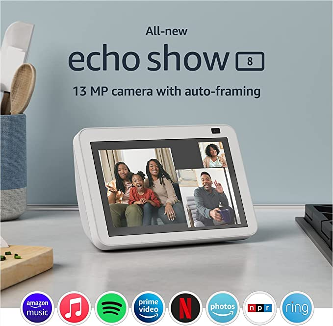 All-new Echo Show 8 (2nd Gen, 2021 release)   HD smart display with Alexa and 13 MP camera   Glacier White   Amazon