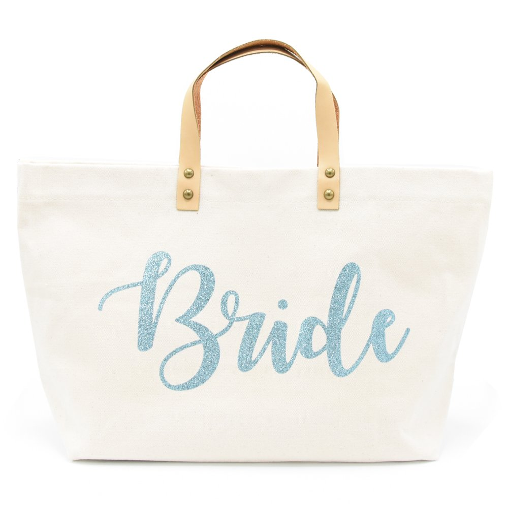 PumPumpz Personalized Gifts Wedding''Mrs/Bride'' Canvas Tote Bags With Box Package. (Bride Blue B)