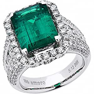 Amoro 18k White Gold Colombian Emerald Ring and Diamond Ring (2.84 cttw, G-H Color,VS2-SI1 Clarity)