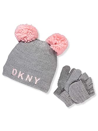 3380076aade DKNY Girls  Knit Beanie   Gloves Set - Gray