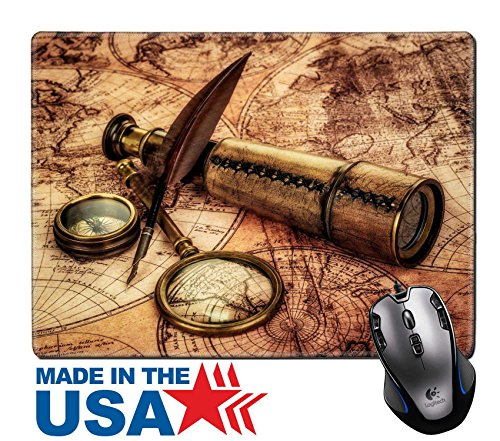 "MSD Natural Rubber Mouse Pad/Mat with Stitched Edges 9.8"" x 7.9"" Vintage magnifying glass compass goose quill pen and spyglass lying on an old map 19447728 Customized Desktop Laptop Gaming - Goggles Picture Search"