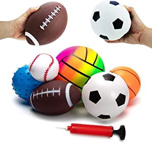 beetoy 6 Pcs Inflatable Sport Toddler Balls Set with Pump for Toddler, Includes Football, Basketball, Volleyball, Baseball, Rugby, Spike and Bag, Backyard Game Outdoor Sports for Kids