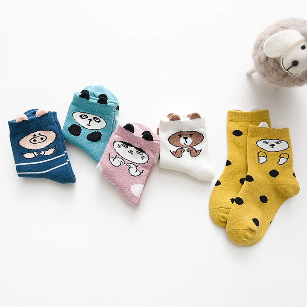 Toddler Kids Little Girls Seamless Cotton Crew Socks Stripes Animal Strips Socks5 Pairs