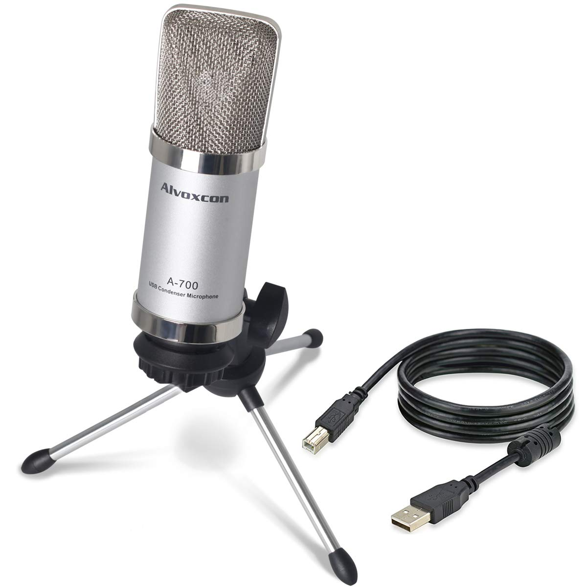 Alvoxcon USB Microphone, Unidirectional Condenser Mic for Computer, PC (Mac/Windows), Podcasting, Vlog, YouTube, Studio Recording, Skype, Stream, Voice Over, Vocal Dictation with Desktop Tripod Stand 4336300491