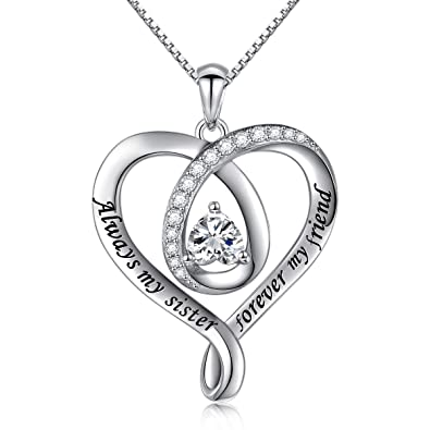 d74f7d638030 925 Sterling Silver Jewelry Engraved quot Always My Sister Forever My  Friend quot  Love Heart Best