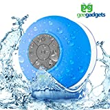 gee gadgets Portable Bluetooth Shower Speaker with Suction Cup - Waterproof, Built in Mic, Universal Phone & Tablet Compatibility - Blue - by