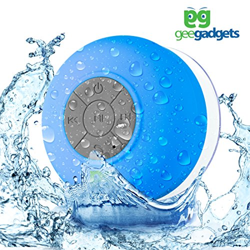 gee gadgets Portable Bluetooth Shower Speaker with Suction Cup - Waterproof, Built in Mic, Universal Phone & Tablet Compatibility - Blue - by by gee gadgets