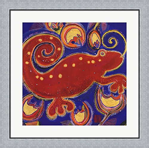 Cameleon Rouge by Sophie Jourdan Framed Art Print Wall Picture, Flat Silver Frame, 28 x 28 ()