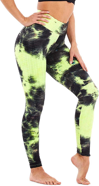 SLIMBELLE Womens High Waist Yoga Pants Tummy Control Scrunch Butt Lift Leggings Anti Cellulite Workout Textured Tights