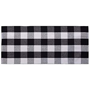 Ukeler Black and White Plaid Rugs Cotton Hand-Woven Buffalo Checkered Carpet Washable Kitchen Rugs and Mat, 23.6''x51.2''