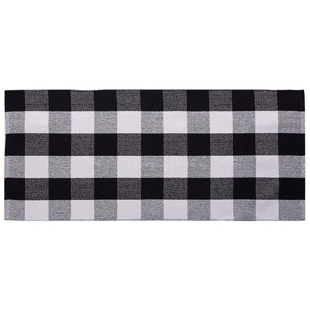 Ukeler Black White Plaid Rugs Cotton Hand-Woven Checkered Carpet Washable Non-Skid Kitchen Rugs Mat, 23.6''x51.2''