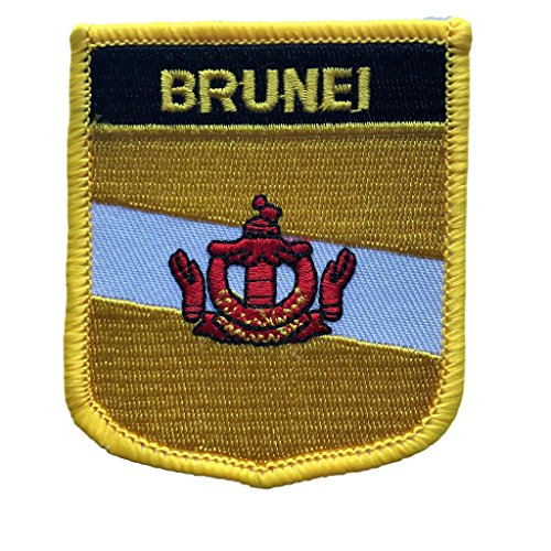 "Brunei Flag Patch / Travel Iron On Badge Shield (Brunei Crest, 2.75"" x 2.35"")"