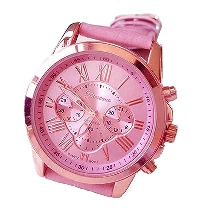 Xinantime Relojes Pulsera Mujer,Xinan Imitación de Cuero Analógico Cuarzo Relojs (Rosa)