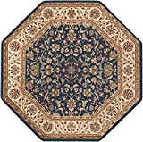 Universal Rugs Ventura Transitional Oriental Navy Octagon Area Rug, 5′ Octagon For Sale