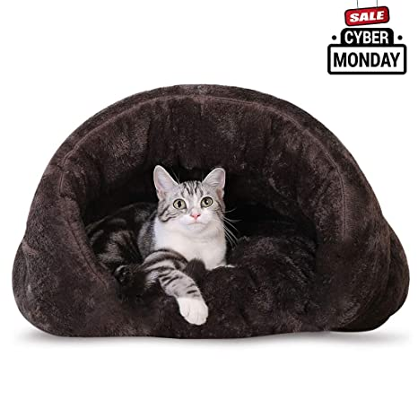 712eee564650 Make you perfect Plush Cat Sleep Bag Cat Cave Covered Hooded Dog Bed for Small  Dogs