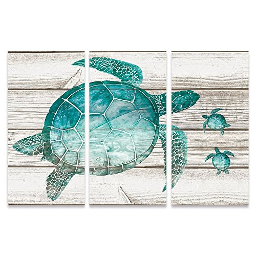 SUMGAR Large Wall Art for Living Room Teal Sea Turtle Wall Decor Vintage Paintings on Canvas Framed Prints,16x32x3p by SUMGAR