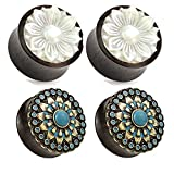 2 Pairs Black Wood Turquoise Mother of Pearl Flower Wood Ear Plugs Tunnels 00g 1/2 9/16 5/8 3/4 7/8 1 Inch (00g 10mm)