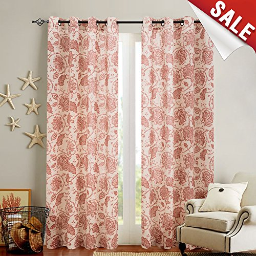 Paisley Scroll Printed Linen Curtains, Grommet Top - Medallion Design Burlap Vintage Kitchen Drapes (Poppy Red, 50-by-84 Inch, Set of Two) (Drapes Geometric)