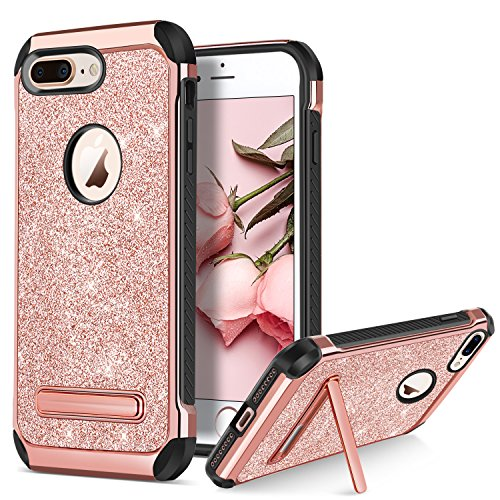 BENTOBEN Case for Apple iPhone 8 Plus Protective Kickstand Phone Cases Glitter Bling Sparkle Girly Cases 2 in 1 Heavy Duty Hard PC Soft TPU Shockproof Phone Cover for iPhone 8 Plus, Rose Gold/Pink