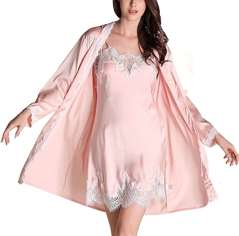 f2e473a85d3974 Cheerlife Damen Seide Morgenmantel mit Nachtkleid Nachthemd Spitze lange  Hülsen Pyjamas Zweiteilig Schlafanzug Nachtwäsche [1541643195-461467] -  AU$23.22